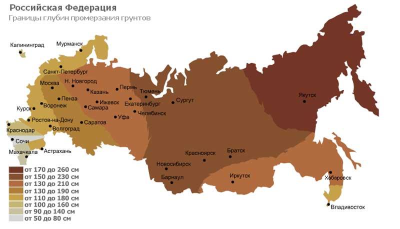Уровень промерзания грунта для разных областей России