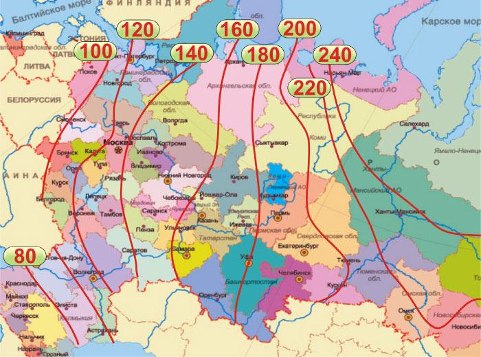 Глубина промерзания грунта на территории России
