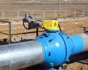 Шаровой кран на нефтепроводе