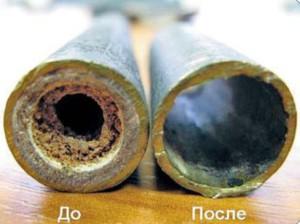 Трубы до и после очистки