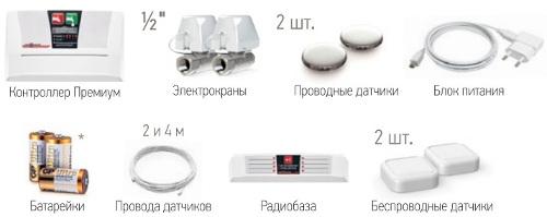 Типовая комплектация системы защиты от протечек