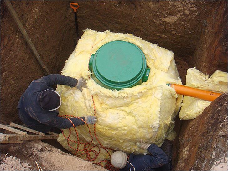 утепление септика минеральной ватой - как способ избежать промерзания